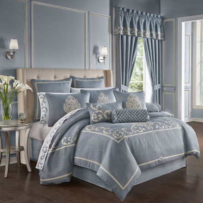 Queen Street Augusta 4-pc. Damask + Scroll Heavyweight Comforter Set