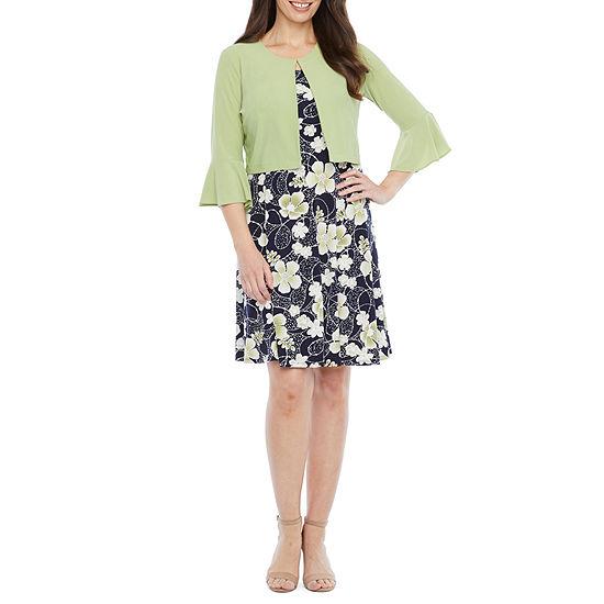 Perceptions 3/4 Bell Sleeve Floral Puff Print Jacket Dress