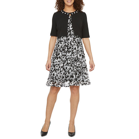 Perceptions-Petite 3/4 Sleeve Floral Jacket Dress