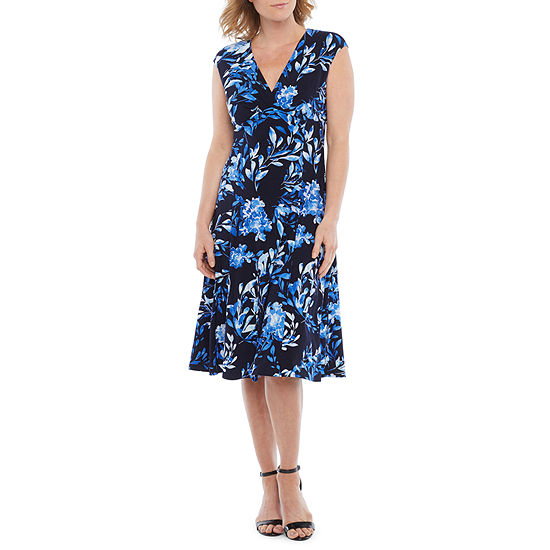 Black Label by Evan-Picone Short Sleeve Floral Fit & Flare Dress