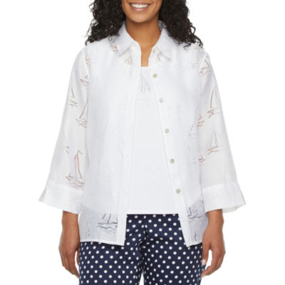 Alfred Dunner-Petite Womens 3/4 Sleeve Classic Fit Button-Down Shirt
