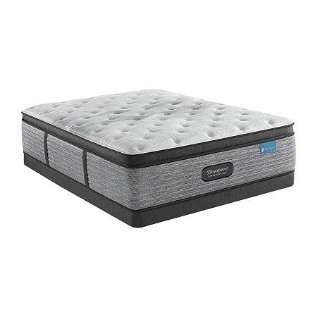 "Beautyrest Harmony Lux Carbon 15.75"" Plush Pillowtop - Mattress + Box Spring, Twin, White"