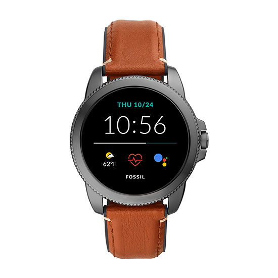 Fossil Smartwatches Gen 5e Mens Brown Leather Smart Watch Ftw4055