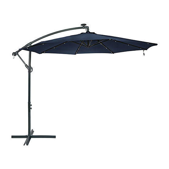 Sunnydaze® 10-Foot Steel Offset Solar Patio Umbrella