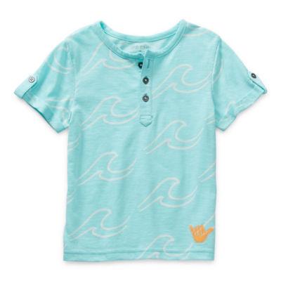 Okie Dokie Toddler Boys Short Sleeve Henley Shirt