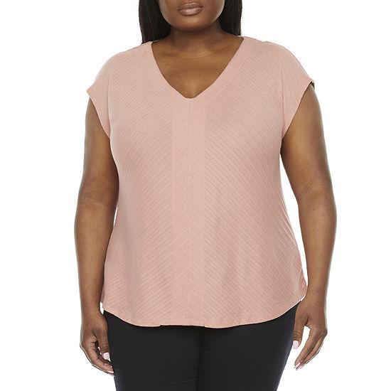 Liz Claiborne Womens Plus V Neck Short Sleeve T-Shirt