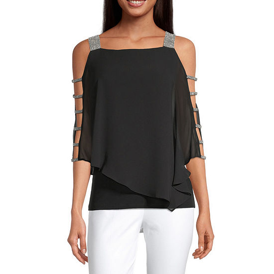 MSK Womens 3/4 Embellished Sleeve Knit Blouse