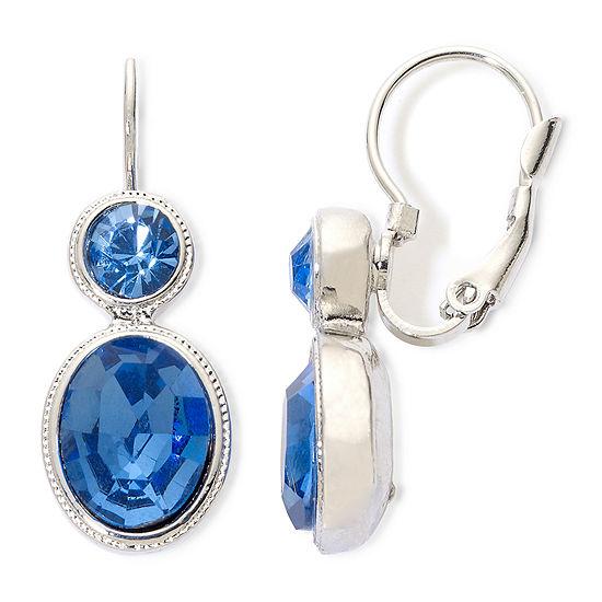 21a1e1e83c100e Monet Blue & Silver Double Drop Lever Back Earrings