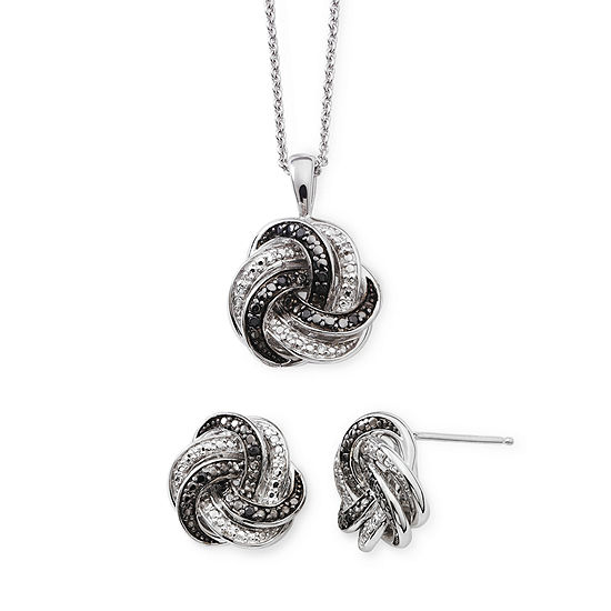 1/10 CT. T.W. White and Color-Enhanced Black Diamond Love Knot Set
