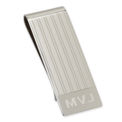 Sterling Silver Personalized Pinstriped Money Clip