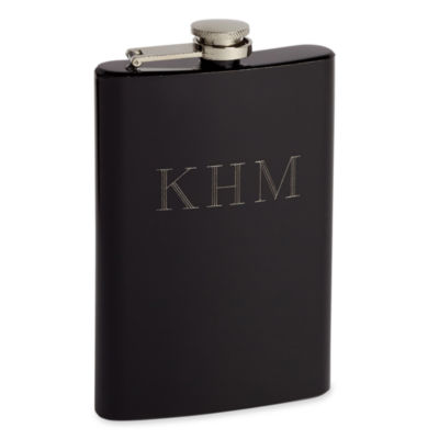 Black Stainless Steel Personalized Hip Flask w/ Funnel