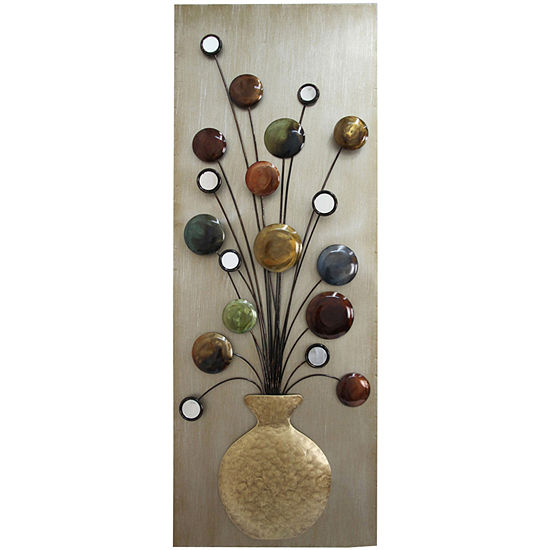 Faux Vase And Flower Metal Wall Decor