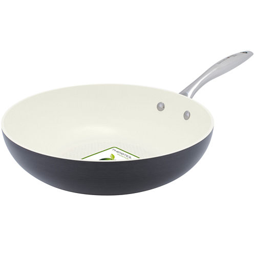 "GreenPan™ Lima I Love Cooking 11"" Ceramic Wok for Fish and Veggies"