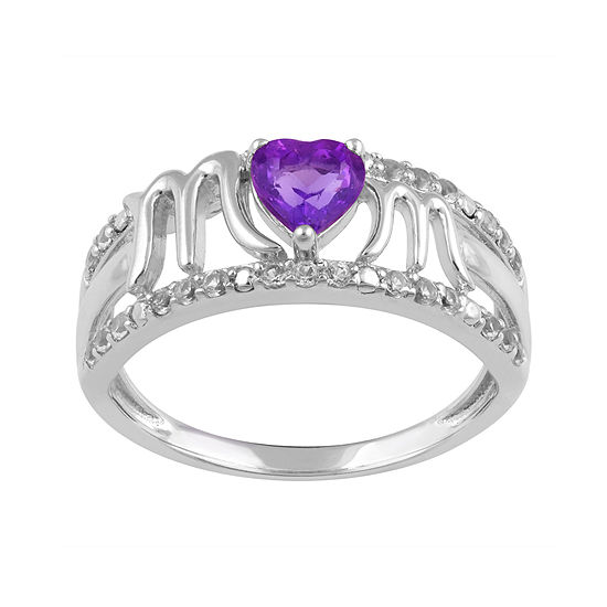 Genuine Amethyst and White Sapphire Mom Ring