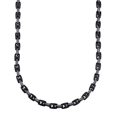 Mens Stainless Steel and Black IP H-Link Chain Necklace