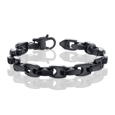 Mens Stainless Steel and Black IP H-Link Bracelet