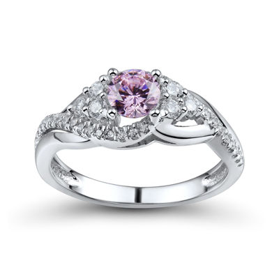 DiamonArt® Pink and White Cubic Zirconia Sterling Silver Ring
