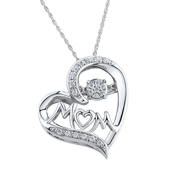 1 10 Ct Tw Diamond Mom Heart Sterling Silver Pendant Necklace