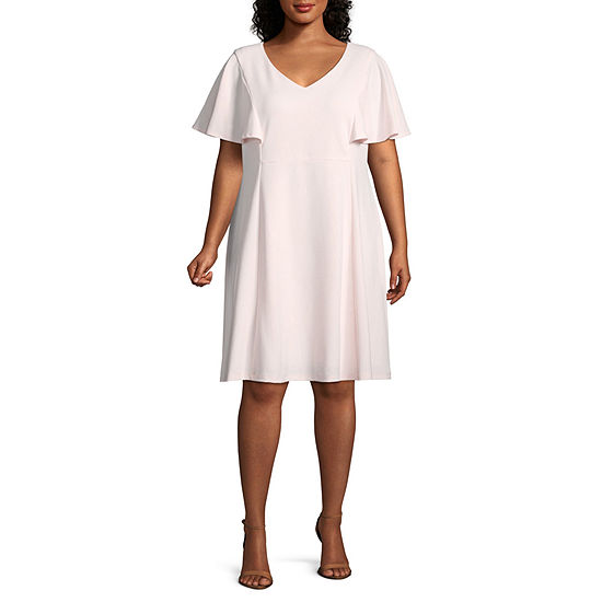 Liz Claiborne Short Sleeve Fit & Flare Mid Length Dress - Plus