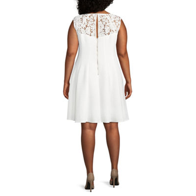 Danny & Nicole Sleeveless Fit & Flare Lace Trim Dress - Plus