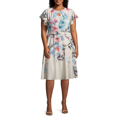 Danny & Nicole Short Sleeve Floral Fit & Flare Dress - Plus