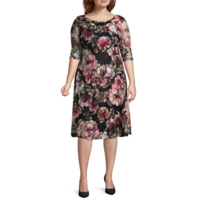 Melrose 3/4 Sleeve Floral Fit & Flare Dress - Plus