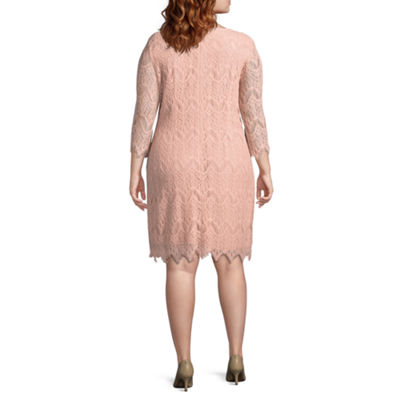 Ronni Nicole 3/4 Sleeve Pattern Sheath Dress - Plus