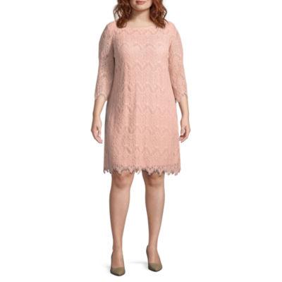 Ronni Nicole 3/4 Sleeve Pattern Sheath Dress - Plus