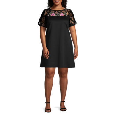 Luxology Short Sleeve Embroidered Floral A-Line Dress - Plus
