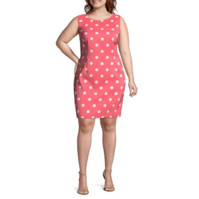 R & K Originals Sleeveless Polka Dot Sheath Dress - Plus