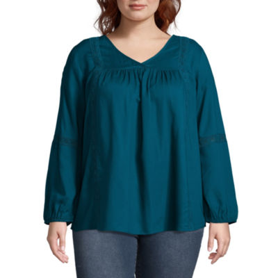 Long Sleeve V-Neck Embriodered Inset Blouse - Plus