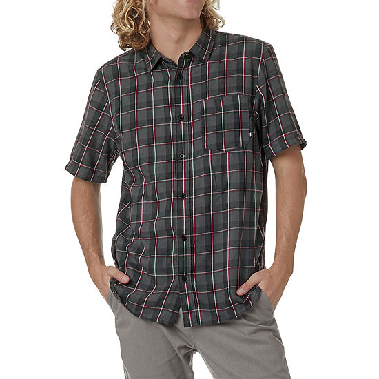 e4aaf8eee9 Vans Mens Short Sleeve Button-Front Shirt, Color: Black - JCPenney