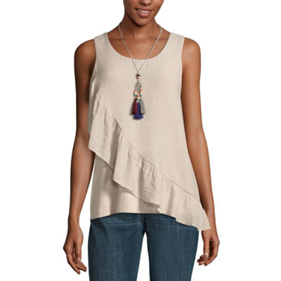 Alyx Womens Round Neck Sleeveless Knit Blouse