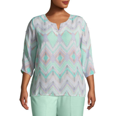 Alfred Dunner Roman Holiday Zig Zag Blouse- Plus