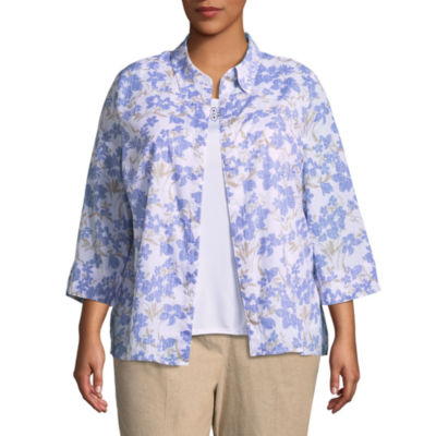 Alfred Dunner Blues Traveler Floral Layered Blouse- Plus