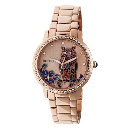 Bertha Unisex Adult Rose Goldtone Stainless Steel Bracelet Watch - Bthbr7103. One Size