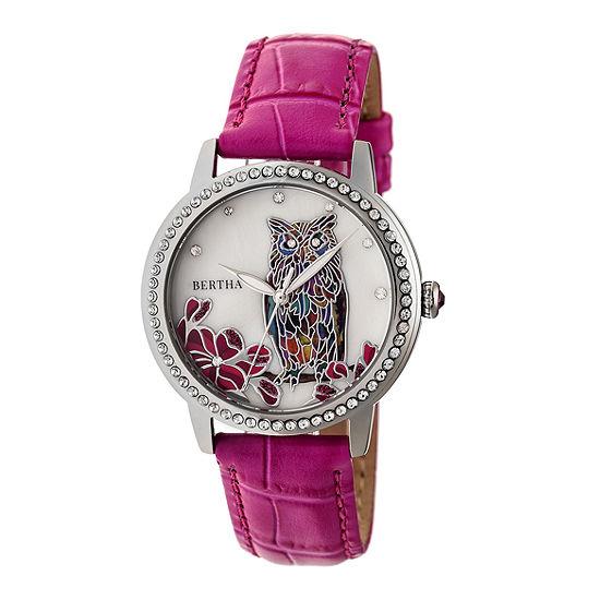 Bertha Womens Pink Leather Strap Watch-Bthbr7106