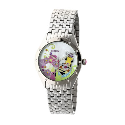 Bertha Unisex Silver Tone Bracelet Watch-Bthbr7201