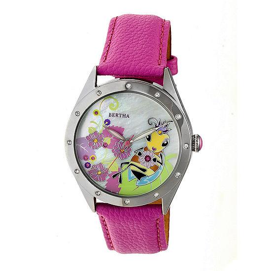 Bertha Unisex Pink Strap Watch-Bthbr7204