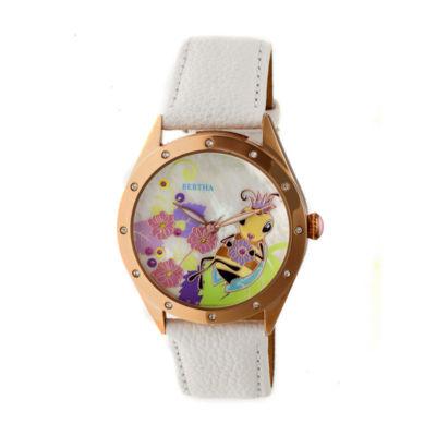Bertha Unisex White Strap Watch-Bthbr7206