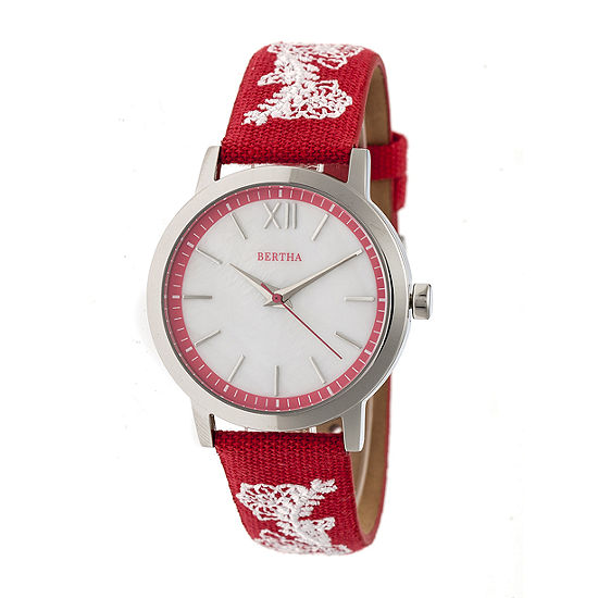 Bertha Unisex Adult Red Leather Strap Watch-Bthbr7301