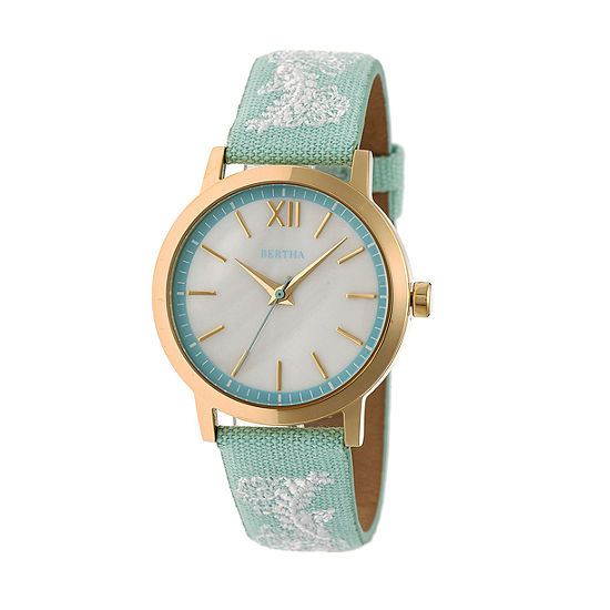 Bertha Unisex Adult Blue Leather Strap Watch-Bthbr7302
