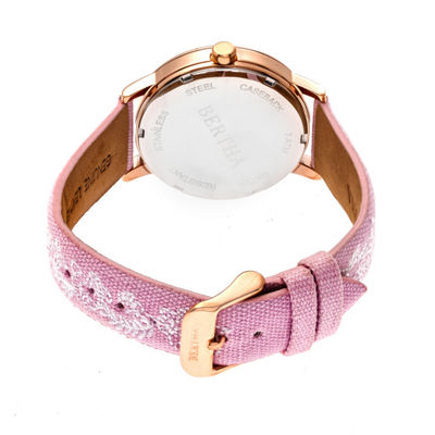 Bertha Unisex Pink Strap Watch-Bthbr7305