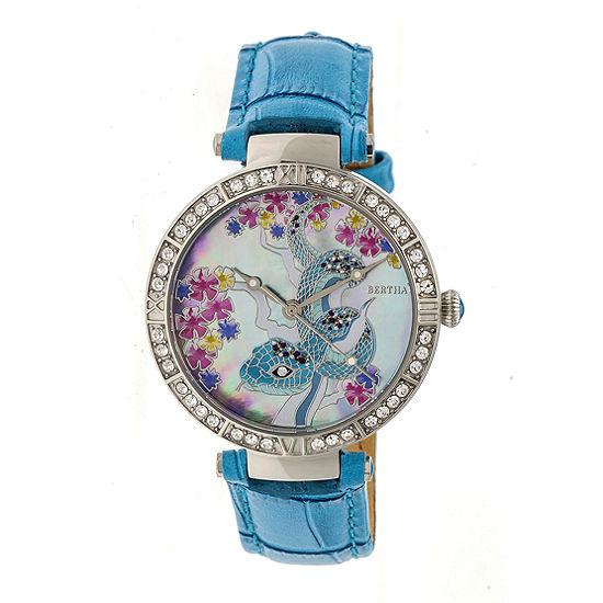 Bertha Unisex Adult Blue Leather Strap Watch-Bthbr7401