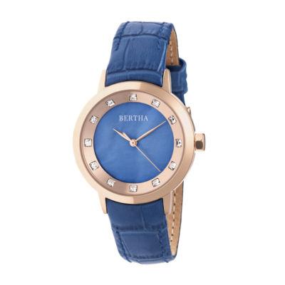 Bertha Unisex Blue Strap Watch-Bthbr7505