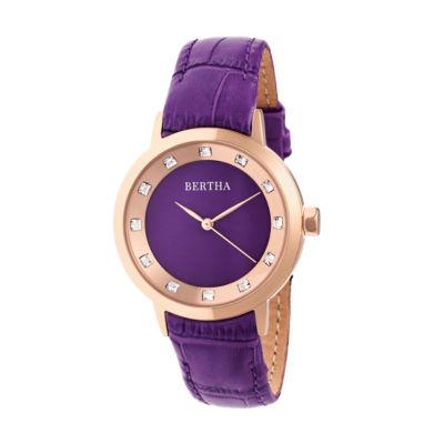 Bertha Unisex Purple Strap Watch-Bthbr7506