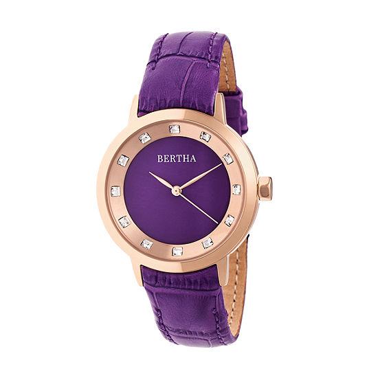 Bertha Unisex Adult Purple Leather Strap Watch-Bthbr7506