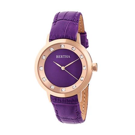 Bertha Unisex Adult Purple Leather Strap Watch-Bthbr7506, One Size
