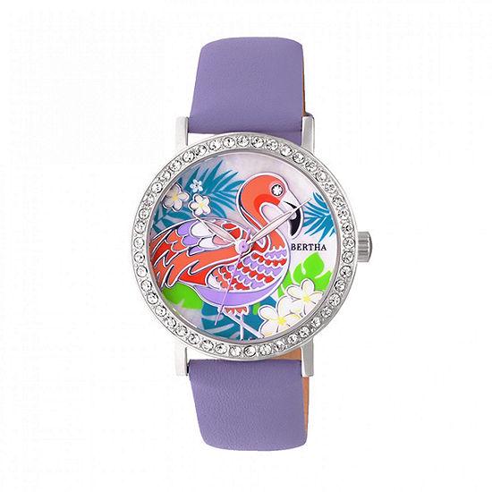 Bertha Unisex Purple Leather Strap Watch-Bthbr7701