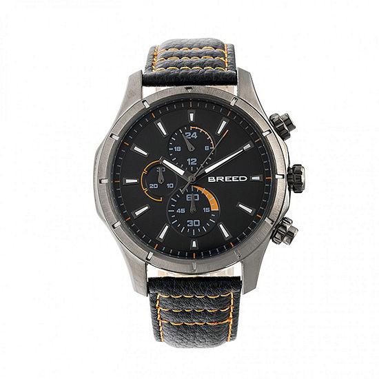 Breed Unisex Adult Black Leather Strap Watch-Brd6805